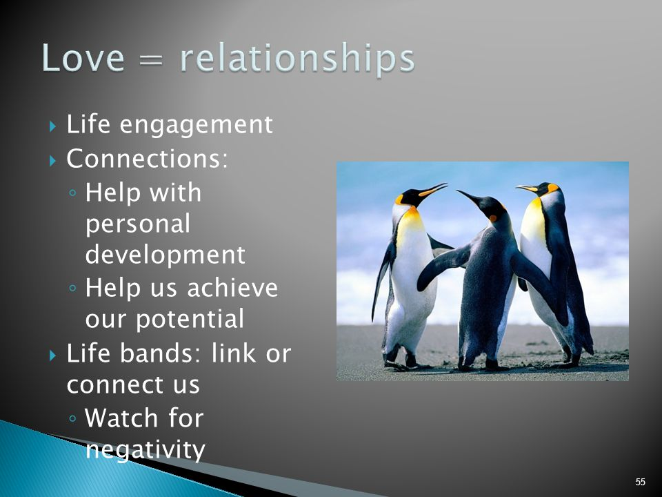 Love = relationships Life engagement Connections: