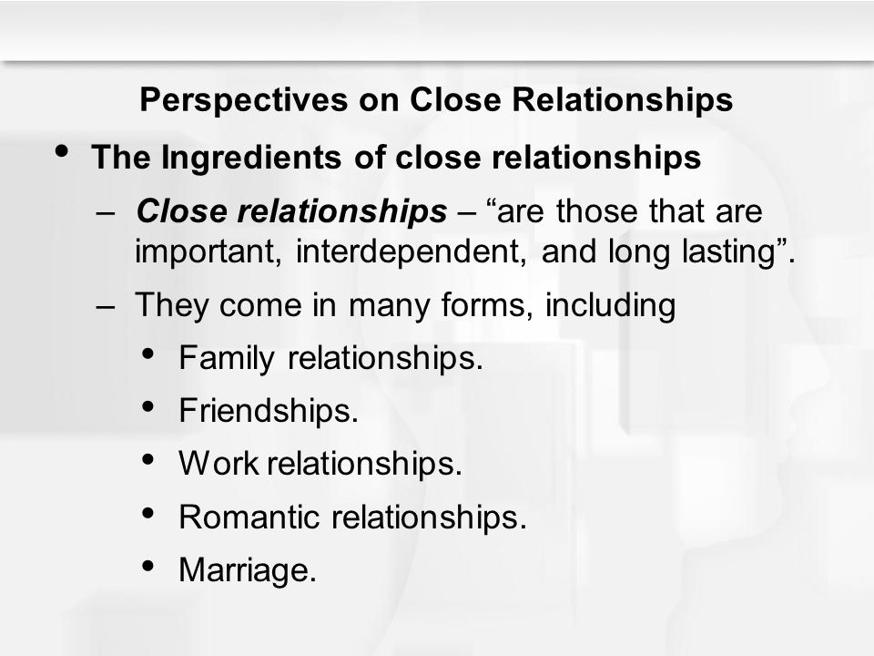 Perspectives on Close Relationships