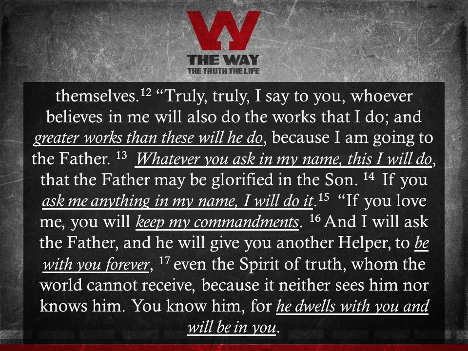 themselves.12 Truly, truly, I say to you, whoever believes in me will also do the works that I do; and greater works than these will he do, because I am going to the Father.