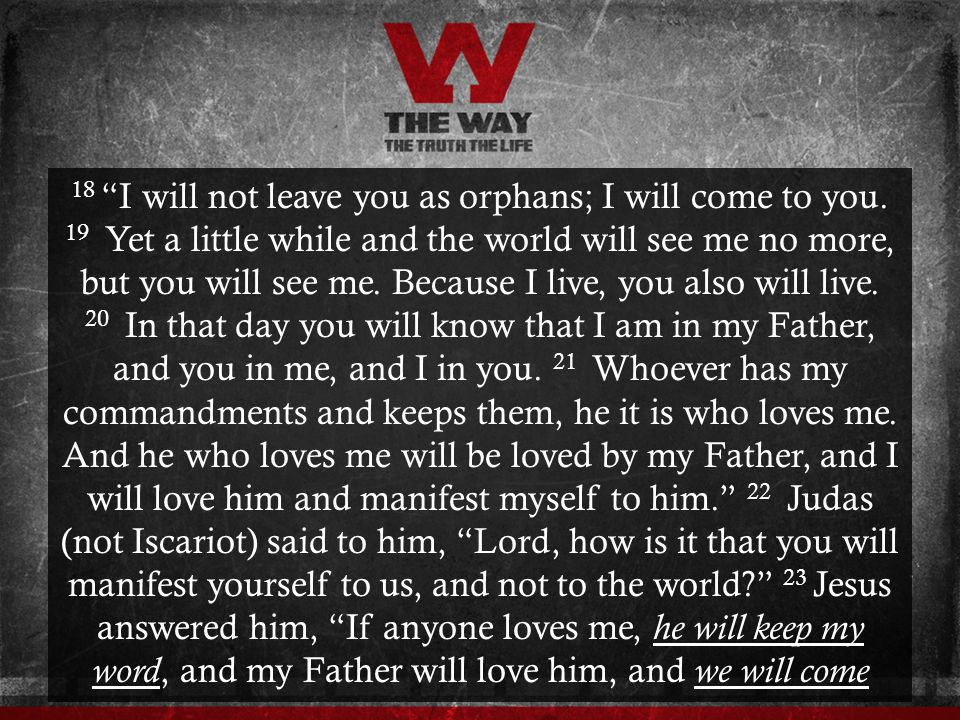 18 I will not leave you as orphans; I will come to you