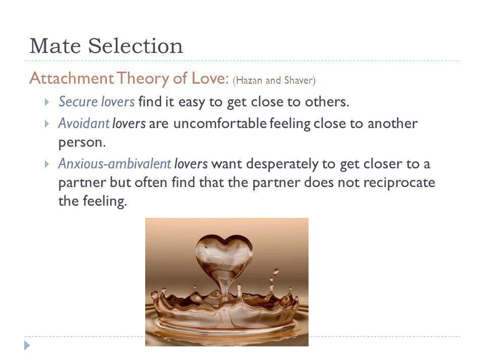 Mate Selection Attachment Theory of Love: (Hazan and Shaver)