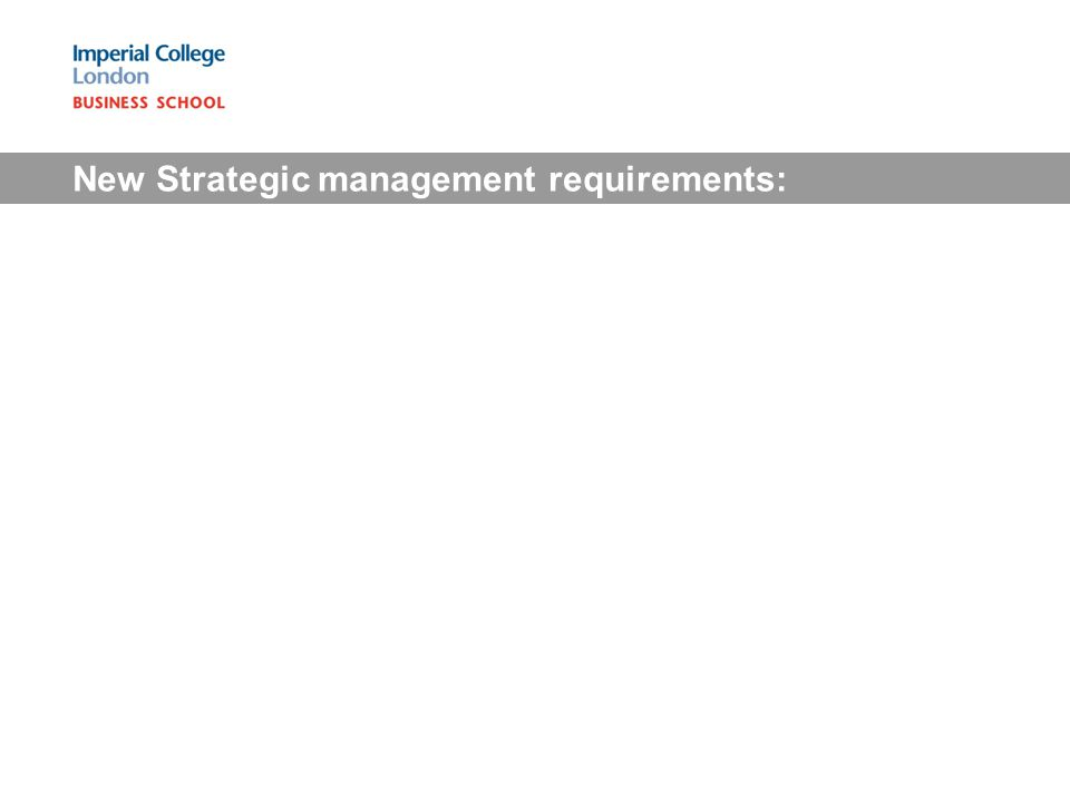 New Strategic management requirements: