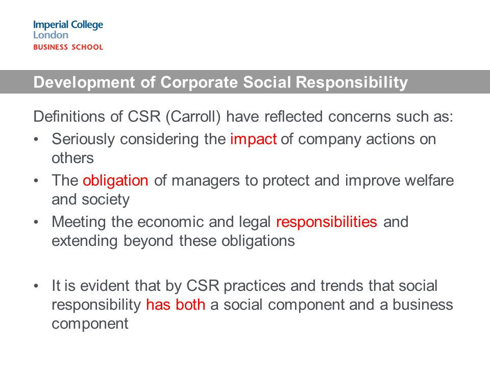 Development of Corporate Social Responsibility