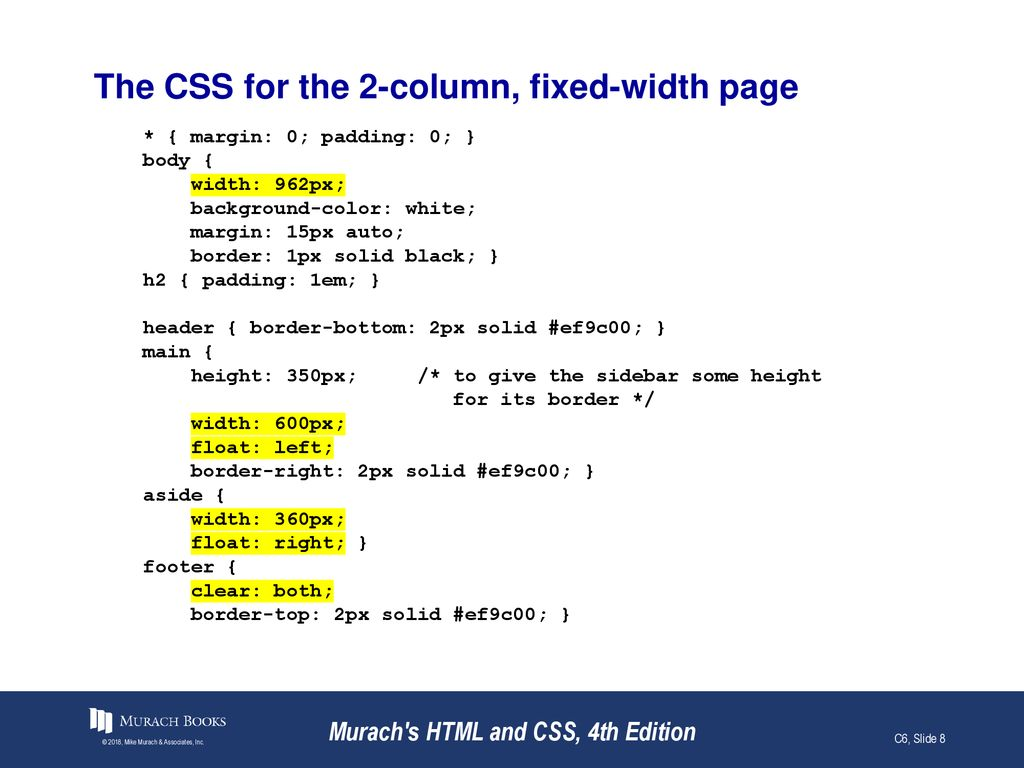 How to use CSS for page layout Murach's HTML and CSS, 4th