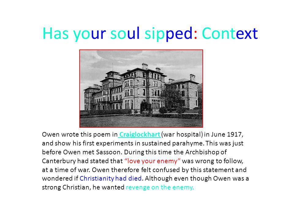 Has your soul sipped: Context