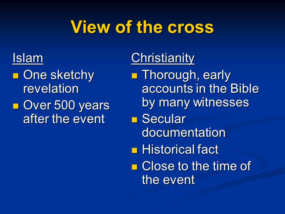View of the cross Islam One sketchy revelation