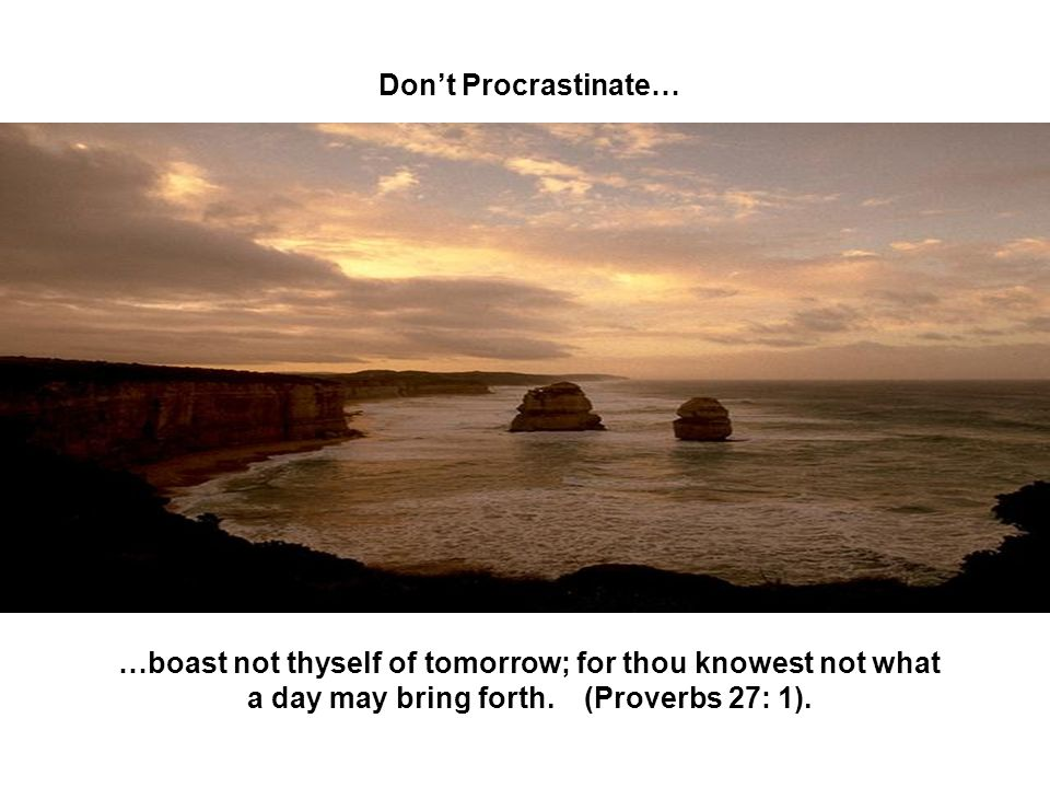 Don't Procrastinate… …boast not thyself of tomorrow; for thou knowest not what a day may bring forth.