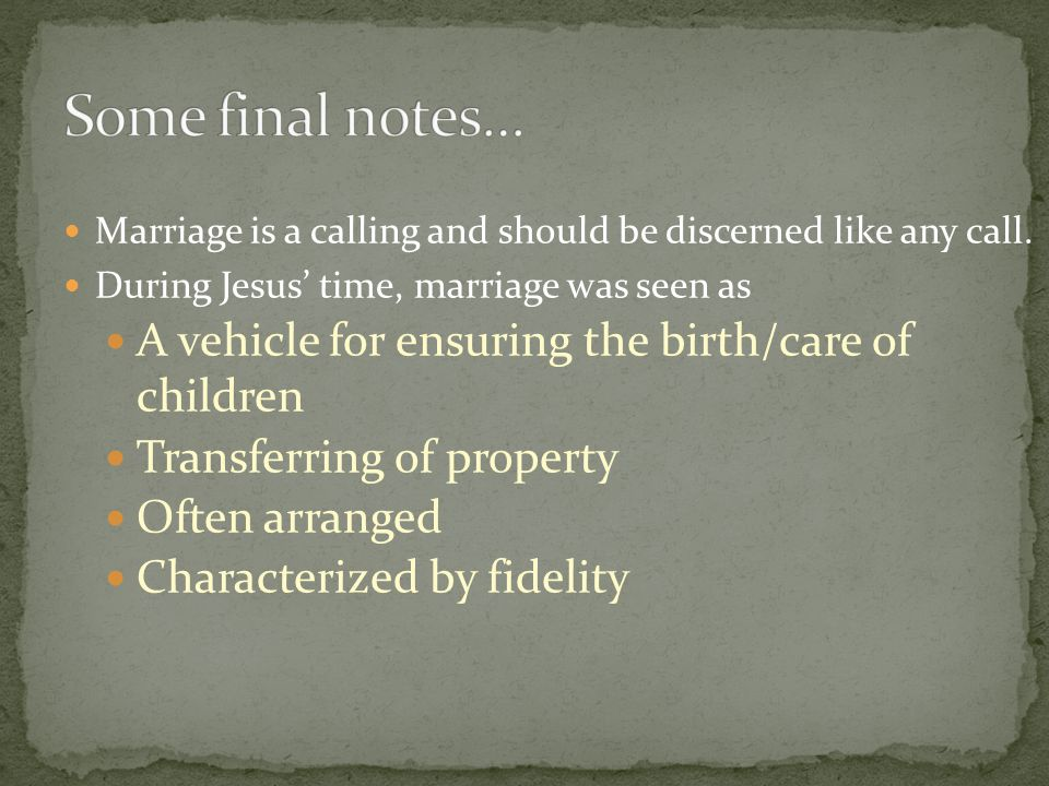 Some final notes… A vehicle for ensuring the birth/care of children