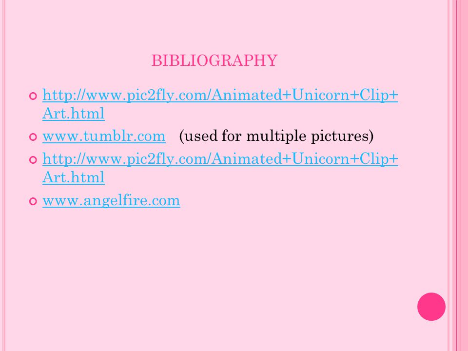 bibliography http://www.pic2fly.com/Animated+Unicorn+Clip+ Art.html