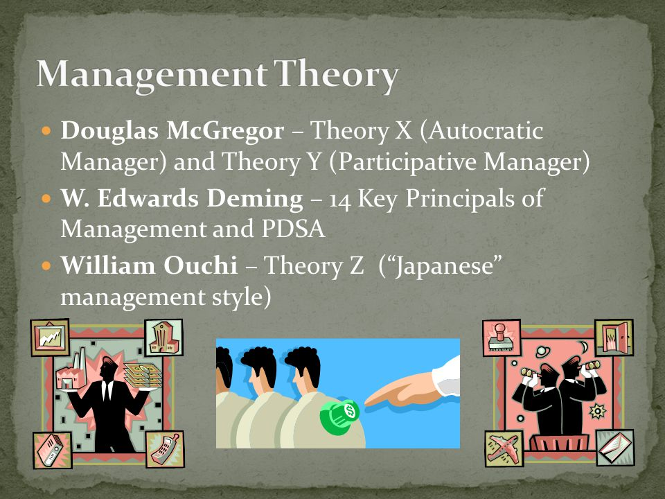 Management Theory Douglas McGregor – Theory X (Autocratic Manager) and Theory Y (Participative Manager)
