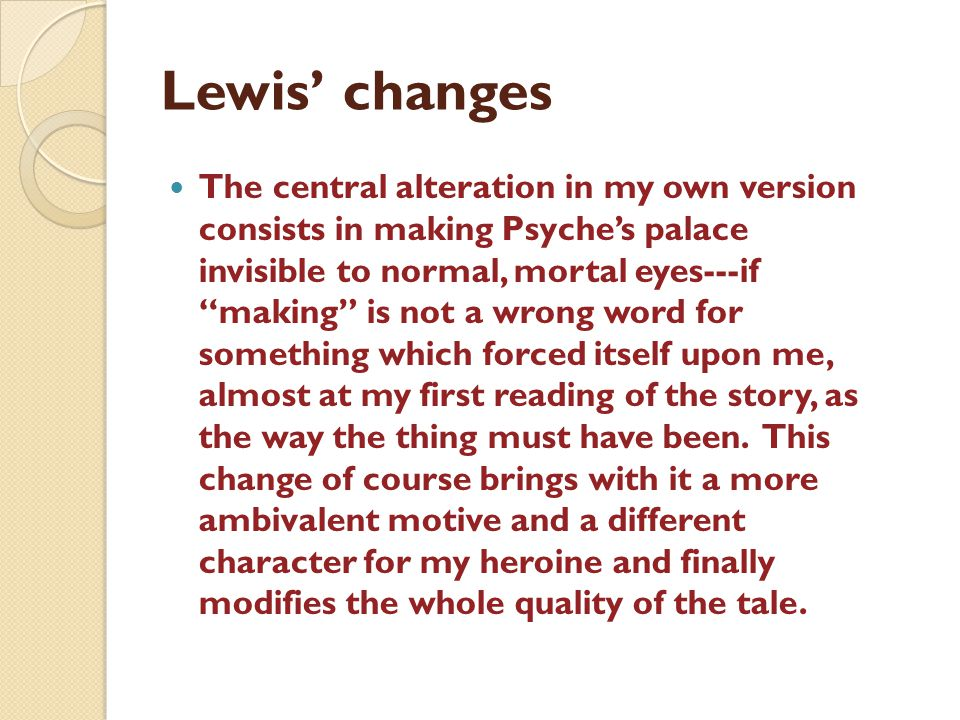 Lewis' changes