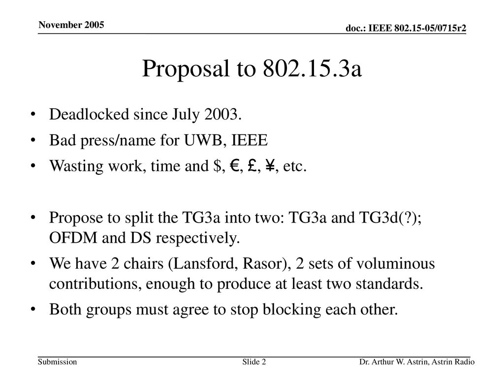 Proposal to a Deadlocked since July 2003.