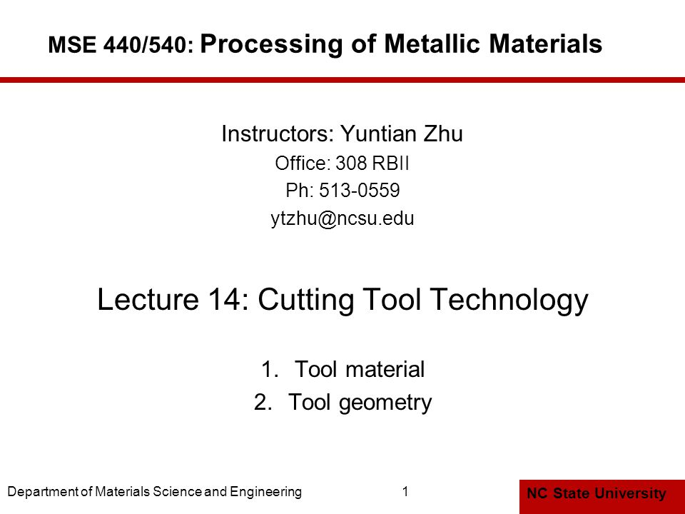 MSE 440/540: Processing of Metallic Materials