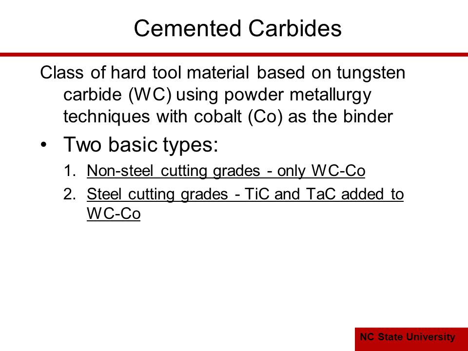 Cemented Carbides Two basic types: