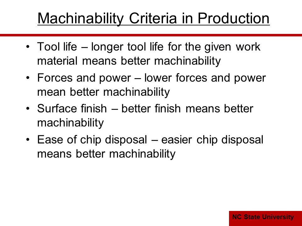 Machinability Criteria in Production