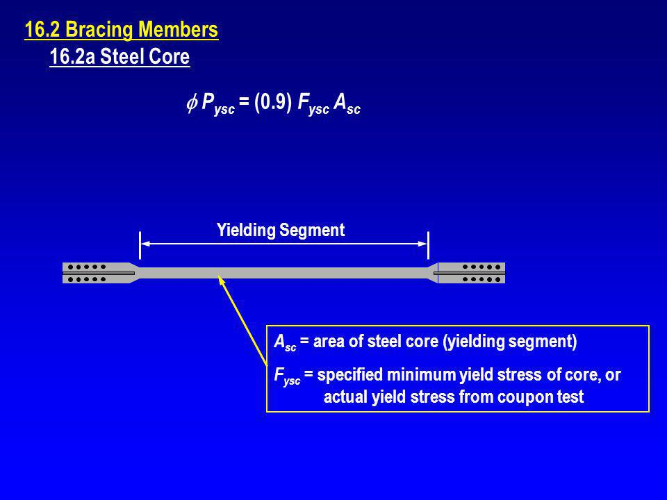 16.2 Bracing Members 16.2a Steel Core  Pysc = (0.9) Fysc Asc