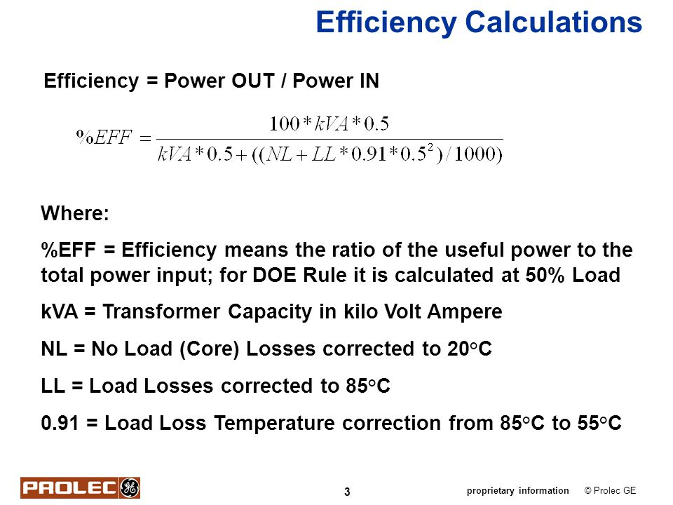 Efficiency Calculations