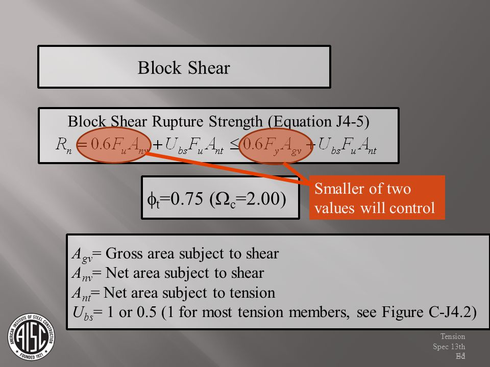 Block Shear Block Shear Rupture Strength (Equation J4-5) Smaller of two values will control. ft=0.75 (Wc=2.00)