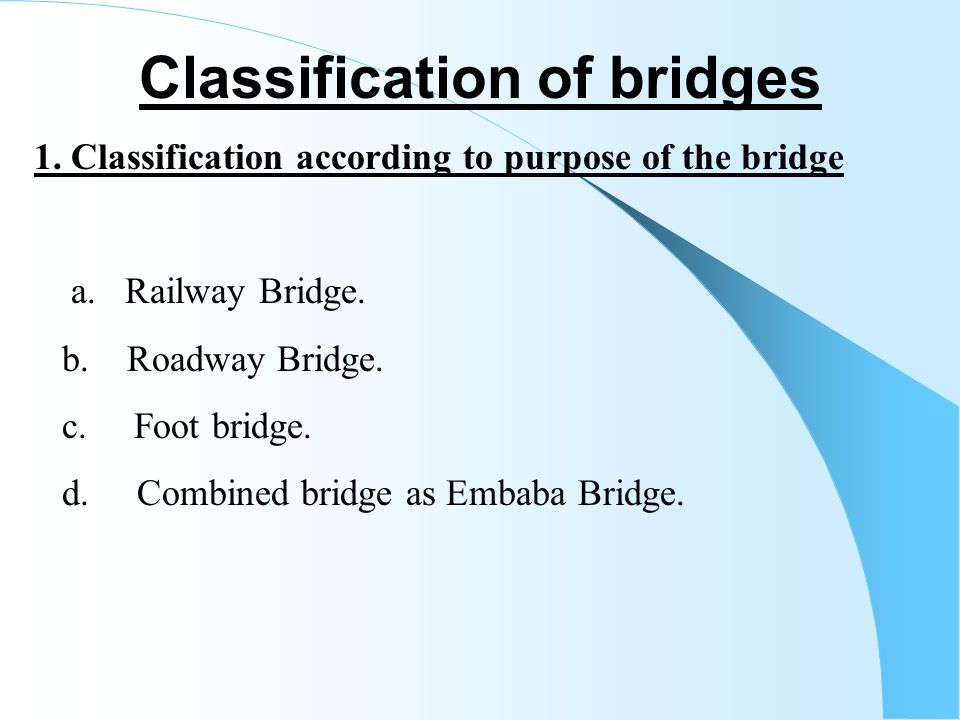 Classification of bridges
