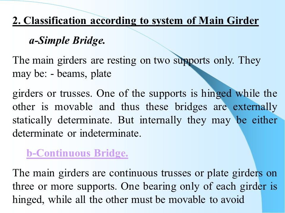 2. Classification according to system of Main Girder