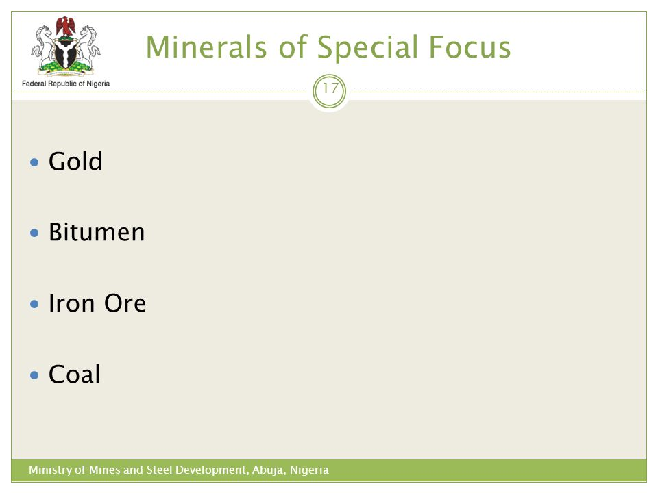 Minerals of Special Focus