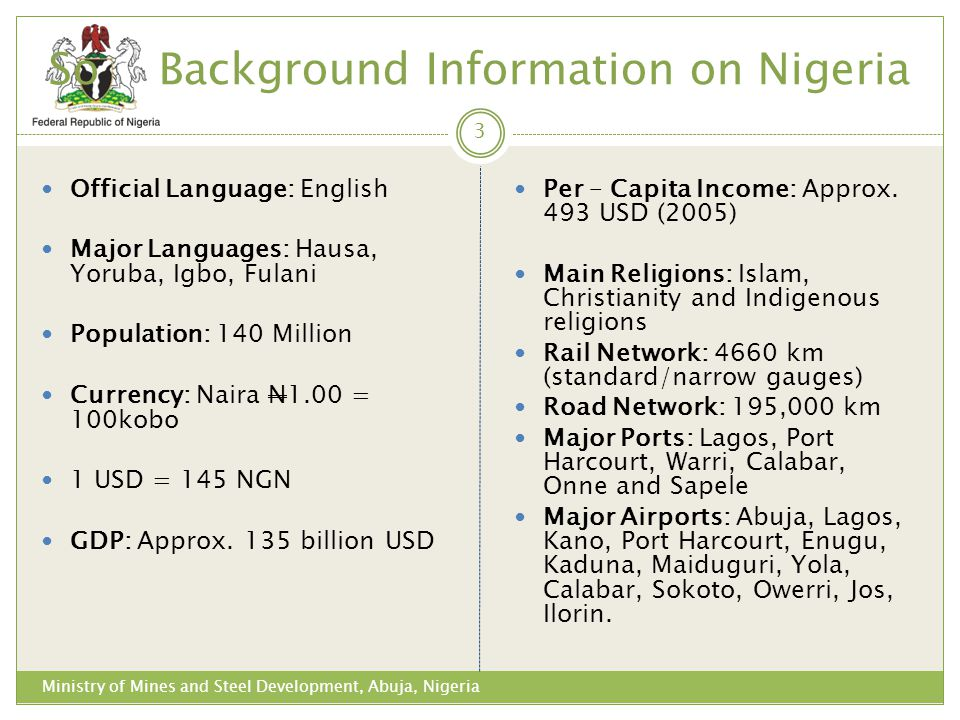 So Background Information on Nigeria