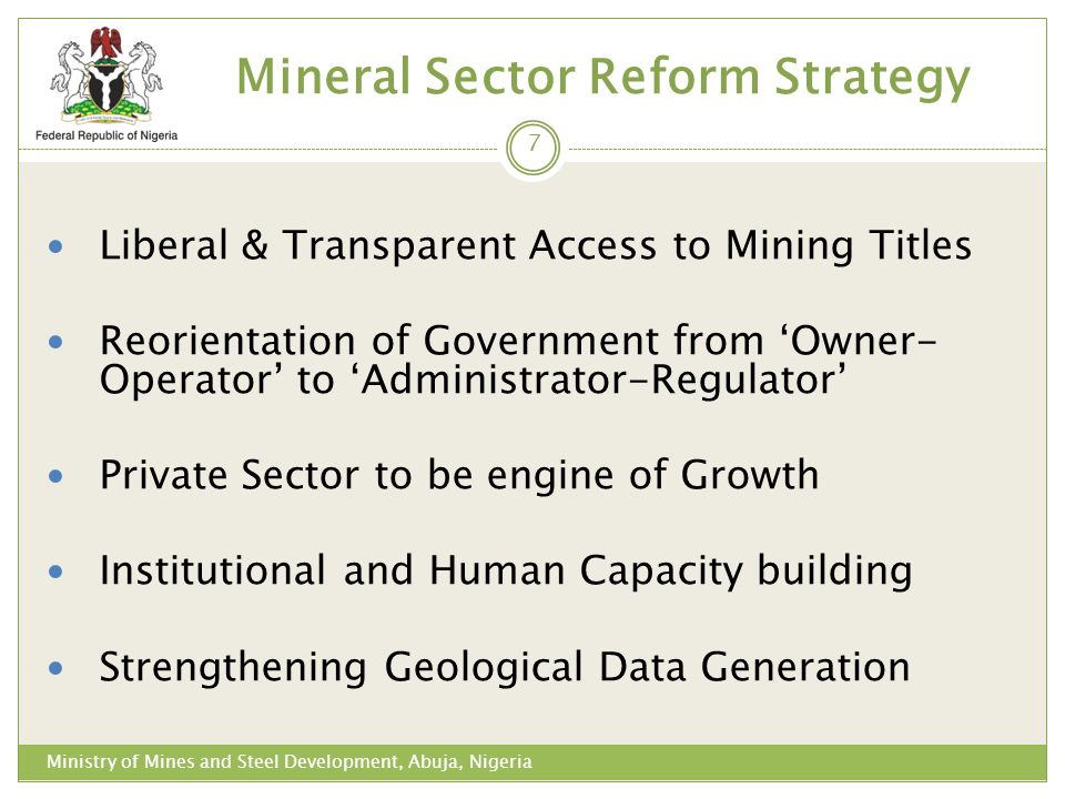 Mineral Sector Reform Strategy