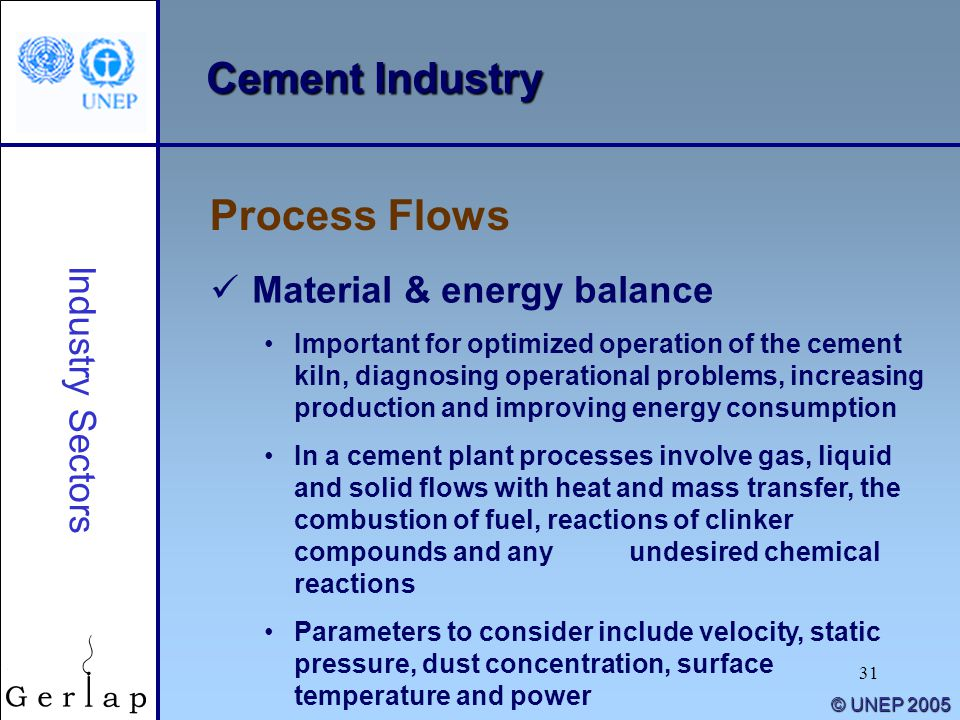 Cement Industry Process Flows Material & energy balance