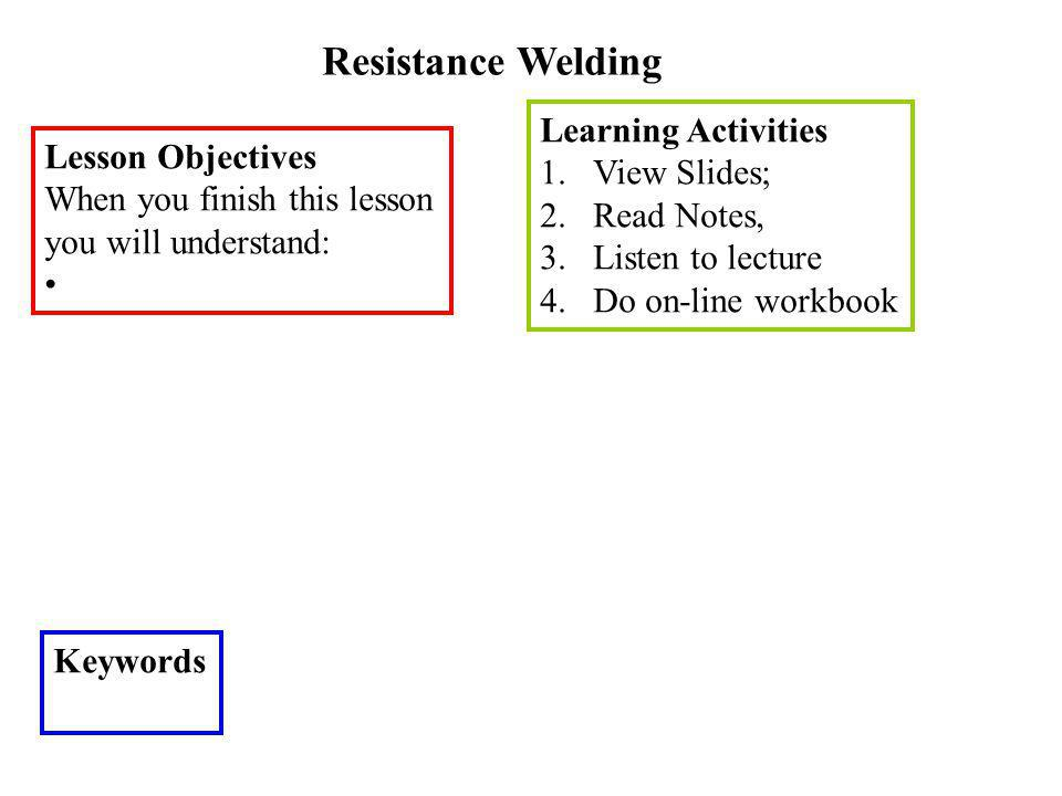 Resistance Welding Learning Activities View Slides; Lesson Objectives
