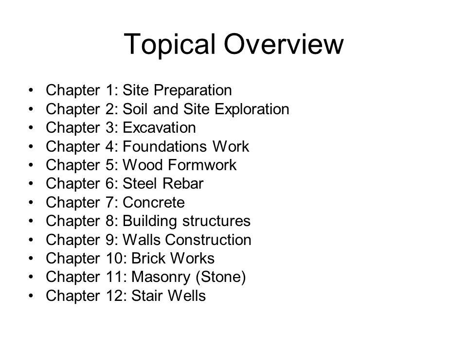 Topical Overview Chapter 1: Site Preparation