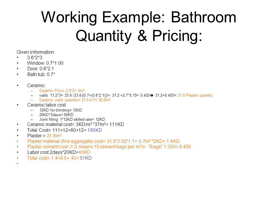 Working Example: Bathroom Quantity & Pricing: