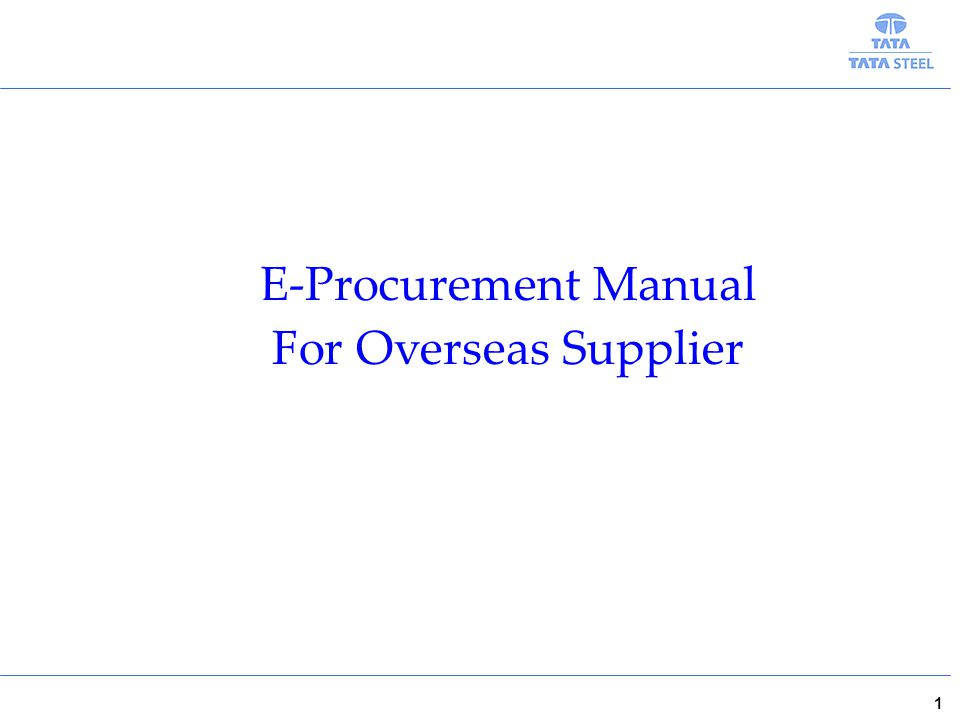 E-Procurement Manual For Overseas Supplier 1
