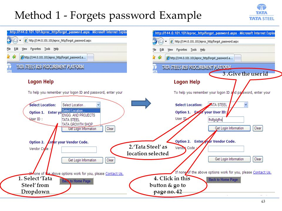 Method 1 - Forgets password Example