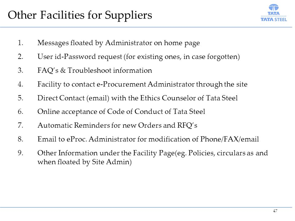 Other Facilities for Suppliers