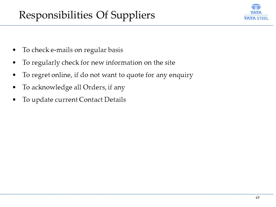Responsibilities Of Suppliers