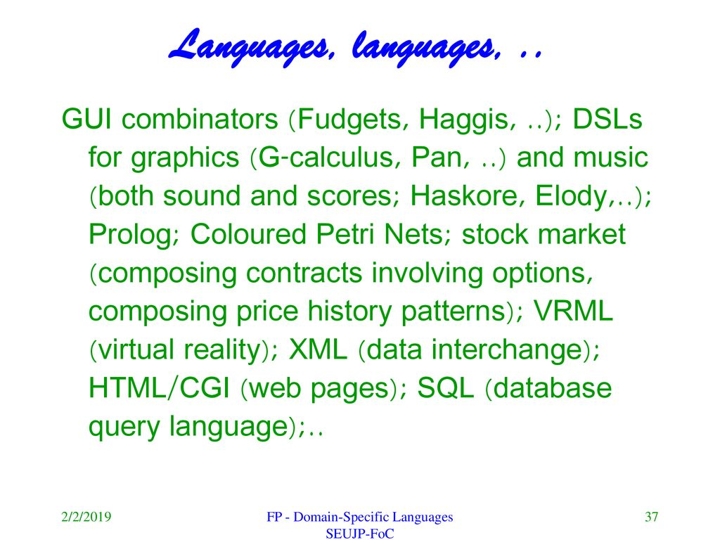 Domain-specific languages and functional programming - ppt