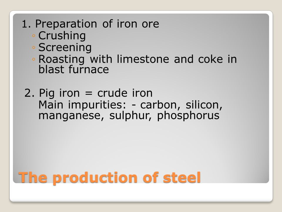The production of steel