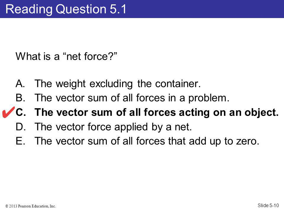 Reading Question 5.1 What is a net force