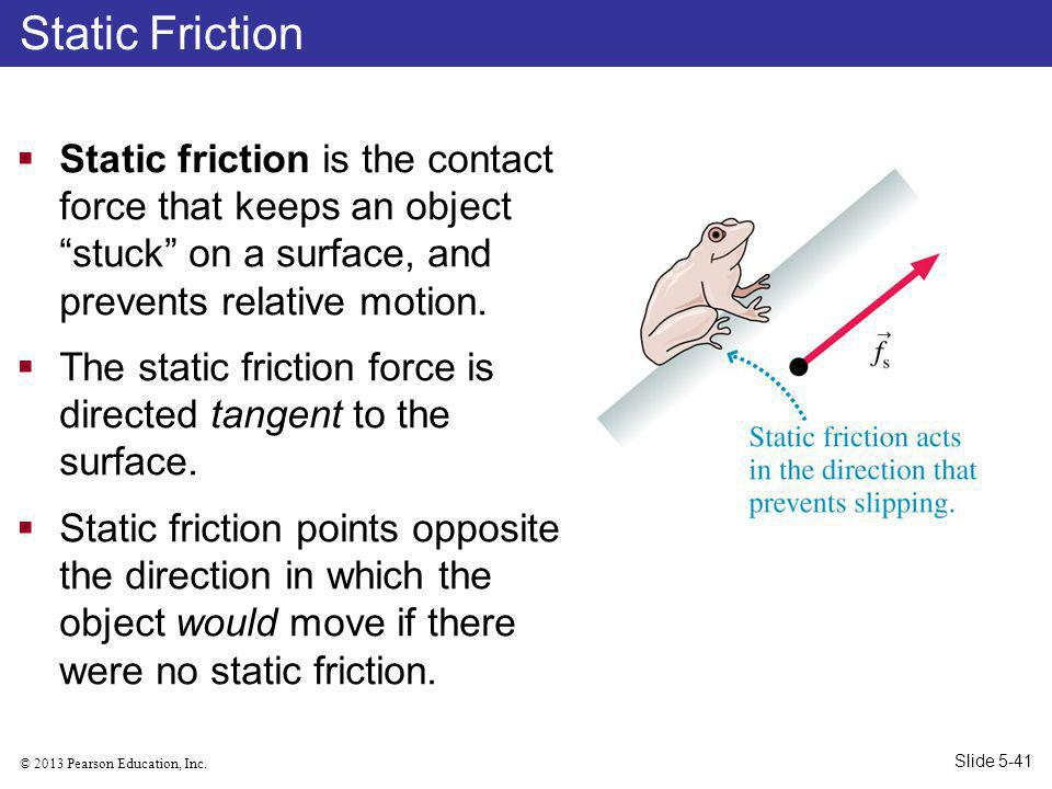 Static Friction Static friction is the contact force that keeps an object stuck on a surface, and prevents relative motion.