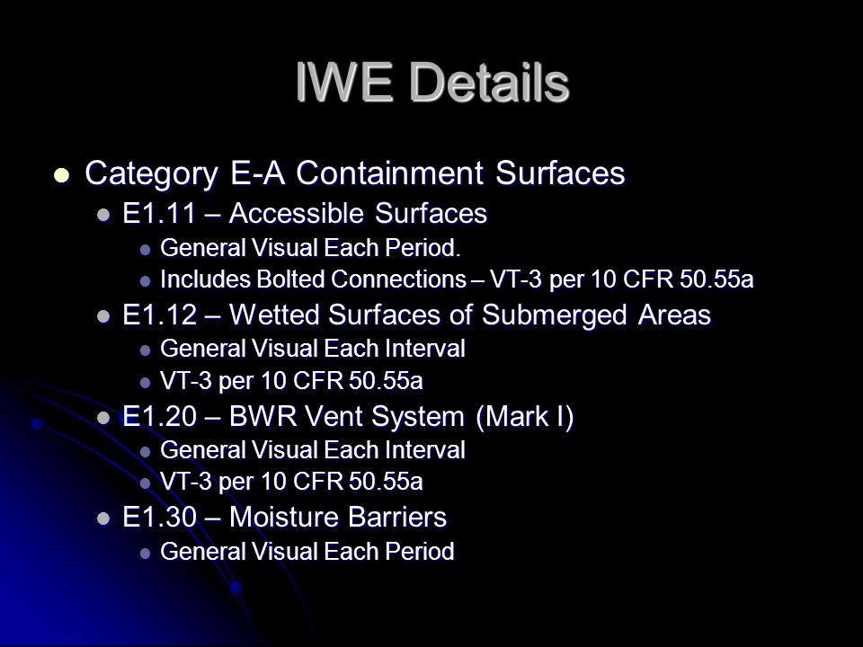 IWE Details Category E-A Containment Surfaces
