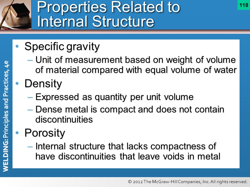 Properties Related to Internal Structure