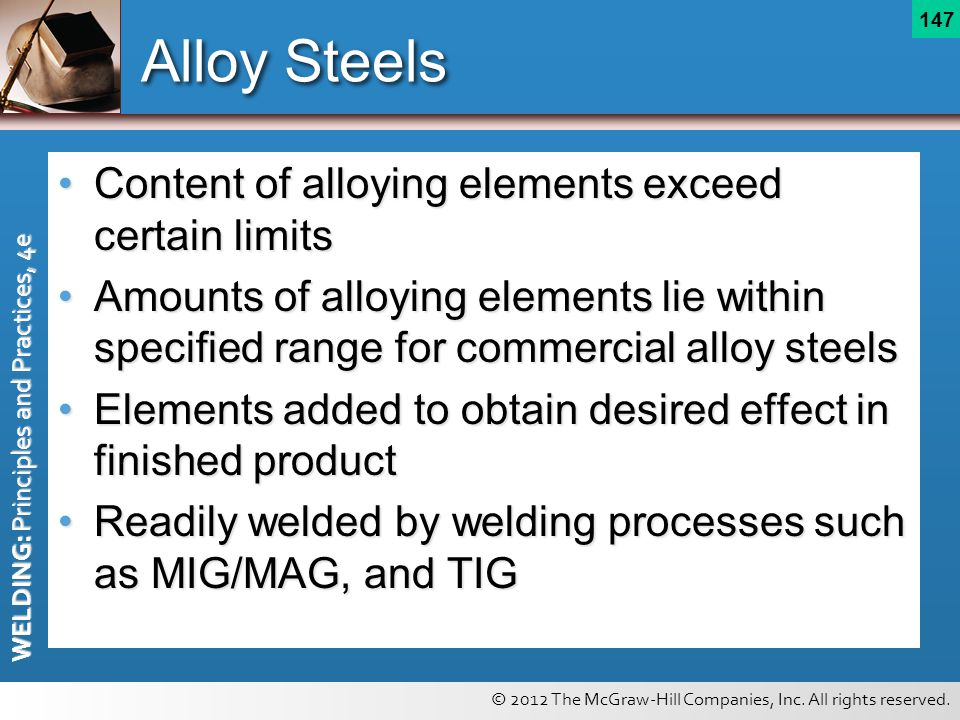 Alloy Steels Content of alloying elements exceed certain limits
