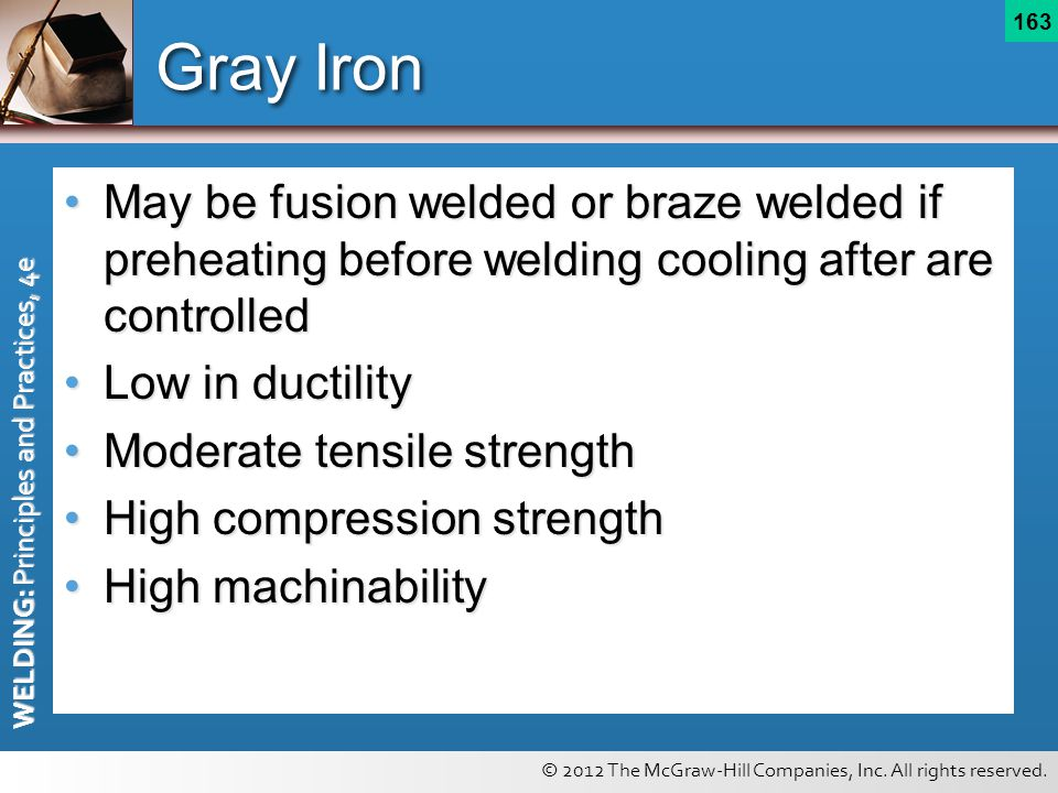 Gray Iron May be fusion welded or braze welded if preheating before welding cooling after are controlled.