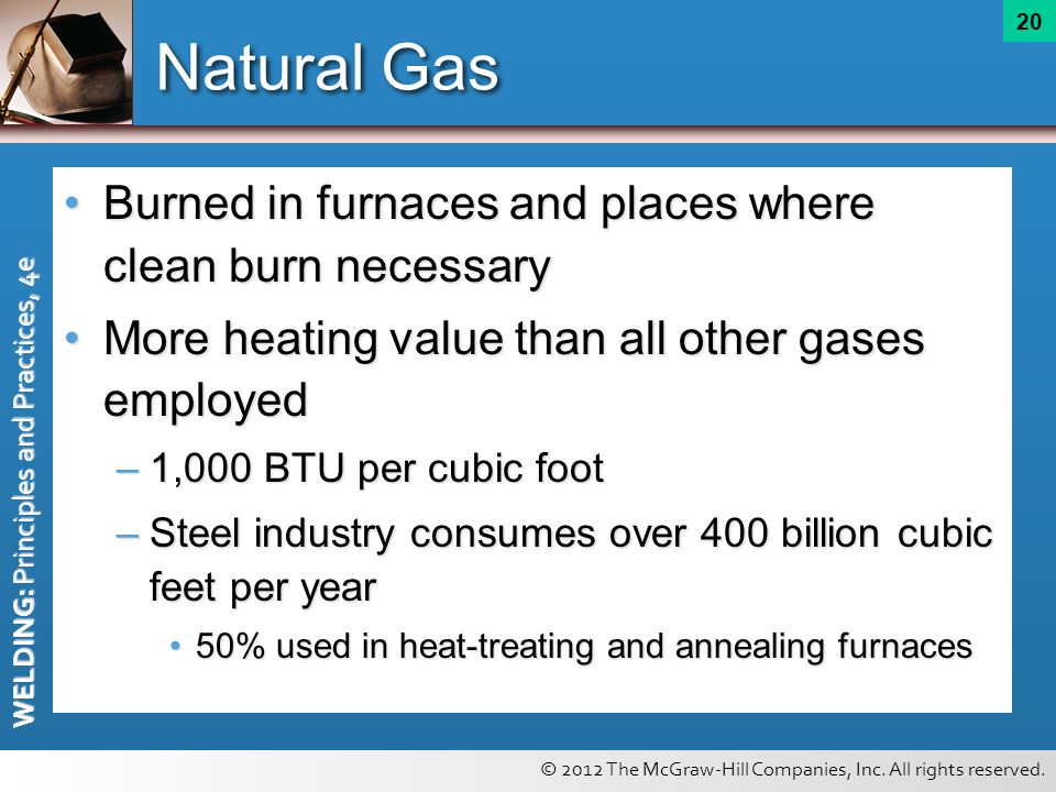 Natural Gas Burned in furnaces and places where clean burn necessary