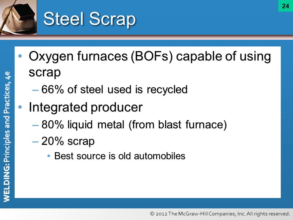 Steel Scrap Oxygen furnaces (BOFs) capable of using scrap