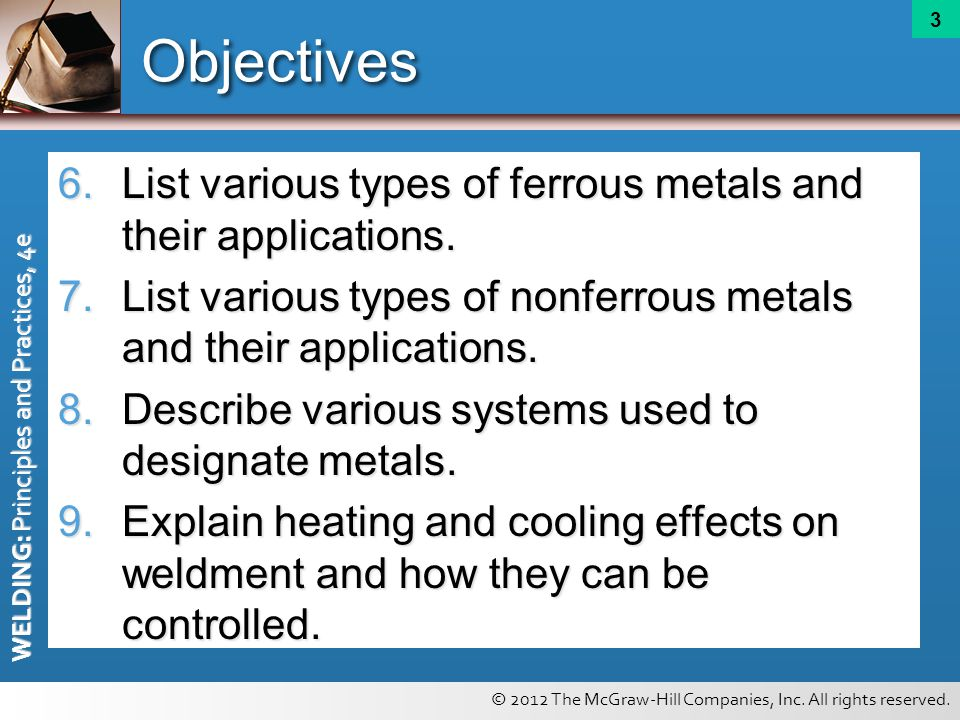 Objectives List various types of ferrous metals and their applications. List various types of nonferrous metals and their applications.
