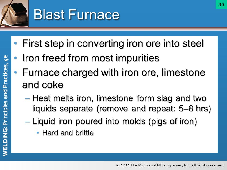 Blast Furnace First step in converting iron ore into steel