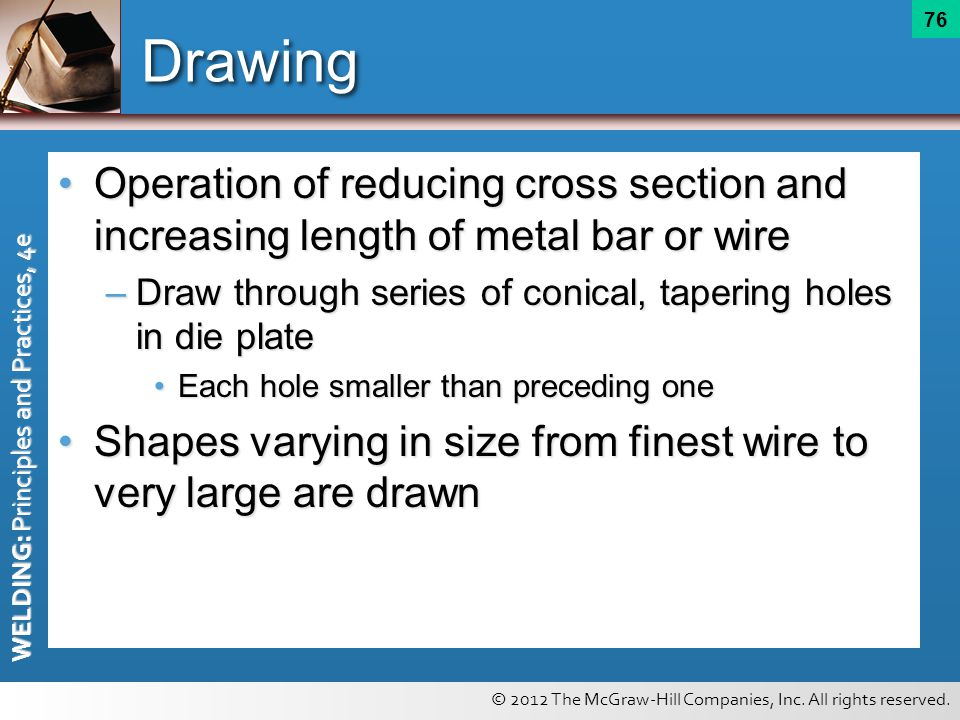 Drawing Operation of reducing cross section and increasing length of metal bar or wire. Draw through series of conical, tapering holes in die plate.