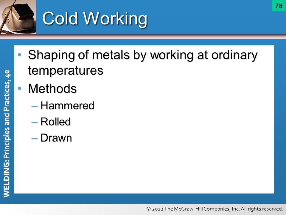 Cold Working Shaping of metals by working at ordinary temperatures