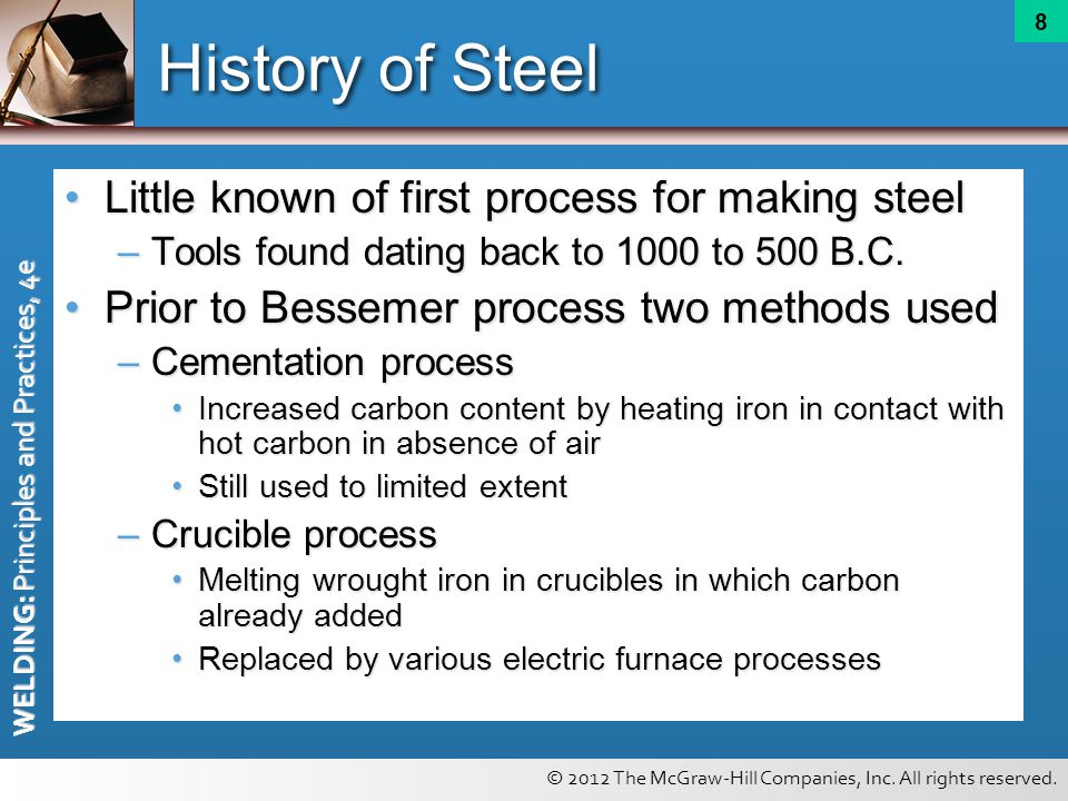History of Steel Little known of first process for making steel